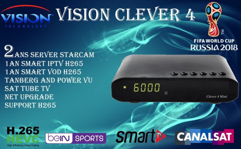 جهاز VISION CLEVER 4 الاصدار الجديد SMART H265  BEIN SPORT  CANAL SAT